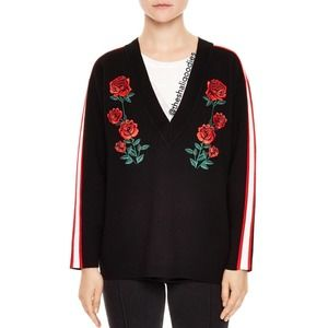 SANDRO Rose Embroidered Sweater Floral Striped